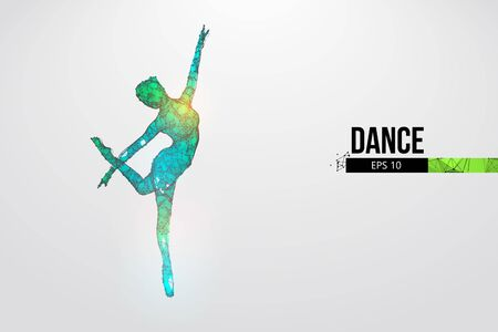 Abstract silhouette of a wireframe dancing woman. Dancer, girl, ballerina on the white background. Illustration
