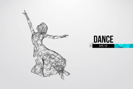 Abstract silhouette of a wireframe dancing woman. Dancer, girl, ballerina on the white background. Convenient organization of eps file. Vector illustration. Thanks for watching Illustration