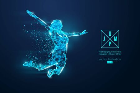 Abstract silhouette of a wireframe jumping woman. People in a jump symbolize freedom. Woman from particles on the blue background.