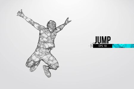 Abstract silhouette of a wireframe jumping man. People in a jump symbolize freedom. Man from particles on the white background. Convenient organization of eps file. Vector. Thanks for watching