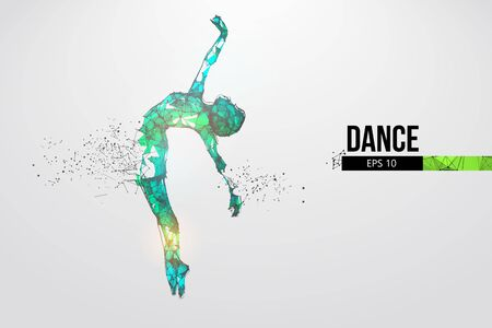Abstract silhouette of a wireframe dancing woman. Dancer, girl, ballerina on the white background. Convenient organization of eps file. Vector illustration. Thanks for watching