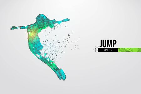 Abstract silhouette of a wireframe jumping woman. People in a jump symbolize freedom. Woman from particles on the white background.