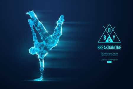 Abstract silhouette of a wireframe break dancer. Teenager dance hip-hop. Man BBoy from particles on the blue background.