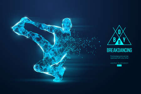 Abstract silhouette of a wireframe breake dancer. Teenager dance hip-hop. Man BBoy from particles on the blue background. Convenient organization of eps file. Vector illustartion. Thanks for watching Illusztráció