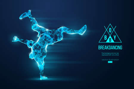 Abstract silhouette of a wireframe breake dancer. Teenager dance hip-hop. Man BBoy from particles on the blue background. Convenient organization of eps file. Vector illustartion. Thanks for watching