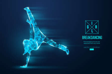 Abstract silhouette of a wireframe break dancer. Teenager dance hip-hop. Woman BGirl from particles on the blue background.
