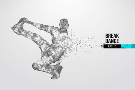 Abstract silhouette of a wireframe breake dancer. Teenager dance hip-hop. Man BBoy from particles on the white background. Convenient organization of eps file. Vector illustartion. Thanks for watching Banque d'images - 150742773