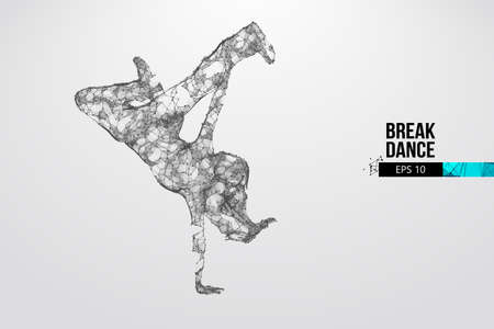 Abstract silhouette of a wireframe breake dancer. Teenager dance hip-hop. Woman BGirl from particles on the white background. Convenient organization of eps file. Vector. Thanks for watching Vettoriali