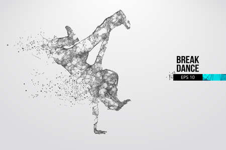 Abstract silhouette of a wireframe breake dancer. Teenager dance hip-hop. Woman BGirl from particles on the white background. Convenient organization of eps file. Vector. Thanks for watching Ilustração Vetorial