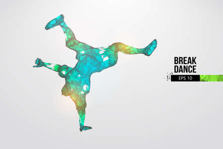 Abstract silhouette of a wireframe breake dancer. Teenager dance hip-hop. Man BBoy from particles on the white background. Convenient organization of eps file. Vector illustartion. Thanks for watching