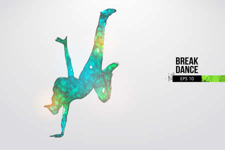 Abstract silhouette of a wireframe breake dancer. Teenager dance hip-hop. Woman BGirl from particles on the white background. Convenient organization of eps file. Vector. Thanks for watching