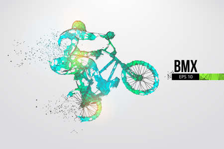 Silhouette of a BMX rider. Convenient organization of eps file. Background, text and basic elements on separate layers, color can be changed in one click. Vector illustration. Thanks for watching Banco de Imagens - 150743274