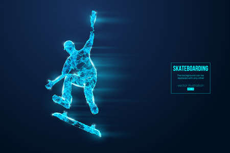 Skateboarding. Abstract silhouette of a wireframe skateboarder from particles on the blue background. Convenient organization of eps file. Vector illustartion. Thanks for watching