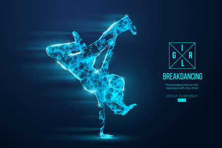 Abstract silhouette of a wireframe breake dancer. Teenager dance hip-hop. Woman BGirl from particles on the blue background. Convenient organization of eps file. Vector. Thanks for watching