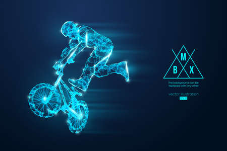 Silhouette of a BMX rider. Convenient organization of eps file. Background, text and basic elements on separate layers, color can be changed in one click. Vector illustration. Thanks for watching Banco de Imagens - 150743284