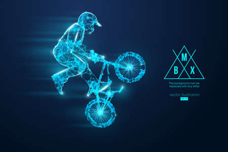 Silhouette of a BMX rider. Convenient organization of eps file. Background, text and basic elements on separate layers, color can be changed in one click.