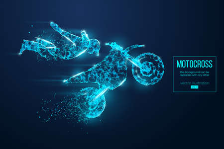 Abstract silhouette of a wireframe motocross rider from particles on the blue background. Vettoriali