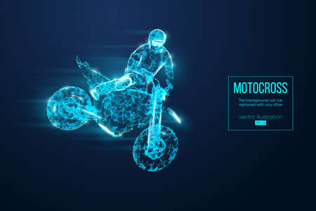 Abstract silhouette of a wireframe motocross rider from particles on the blue background. Convenient organization of eps file. Vector illustartion. Thanks for watching