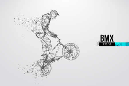 Silhouette of a BMX rider. Convenient organization of eps file. Background, text and basic elements on separate layers, color can be changed in one click. Vector illustration. Thanks for watching