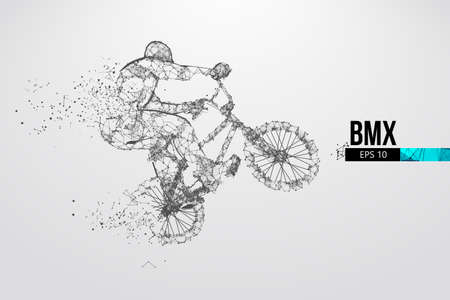 Silhouette of a BMX rider. Convenient organization of eps file. Background, text and basic elements on separate layers, color can be changed in one click. Vector illustration. Thanks for watching Banco de Imagens - 150743777