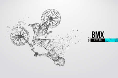 Silhouette of a BMX rider. Convenient organization of eps file. Background, text and basic elements on separate layers, color can be changed in one click. Vector illustration. Thanks for watching Banco de Imagens - 150743578