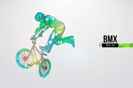 Silhouette of a BMX rider. Convenient organization of eps file. Background, text and basic elements on separate layers, color can be changed in one click. Vector illustration. Thanks for watching Banco de Imagens - 150743793