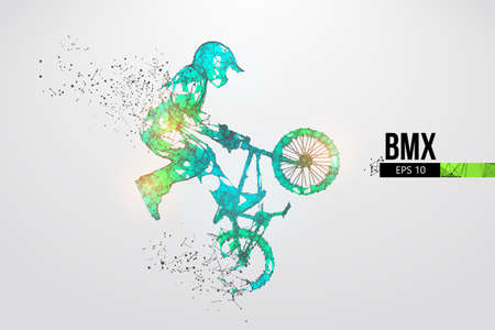 Silhouette of a BMX rider. Convenient organization of eps file. Background, text and basic elements on separate layers, color can be changed in one click. Vector illustration. Thanks for watching Banco de Imagens - 150743529