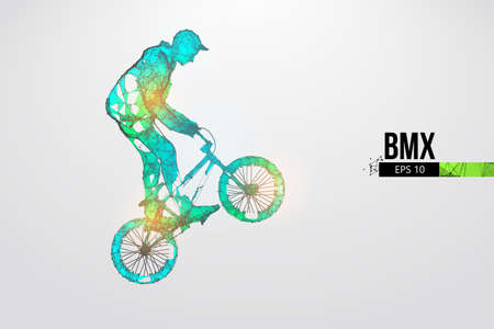 Silhouette of a BMX rider. Convenient organization of eps file. Background, text and basic elements on separate layers, color can be changed in one click. Vector illustration. Thanks for watching Banco de Imagens - 150743551