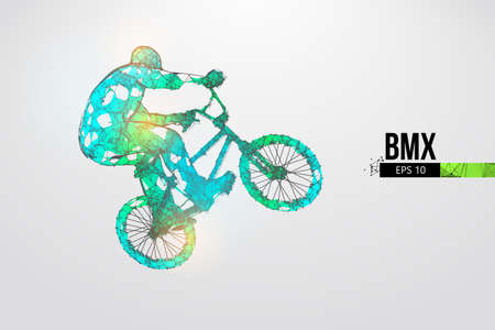 Silhouette of a BMX rider. Convenient organization of eps file. Background, text and basic elements on separate layers, color can be changed in one click. Vector illustration. Thanks for watching Banco de Imagens - 150743876