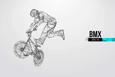 Silhouette of a BMX rider. Convenient organization of eps file. Background, text and basic elements on separate layers, color can be changed in one click. Vector illustration. Thanks for watching Banco de Imagens - 150743297
