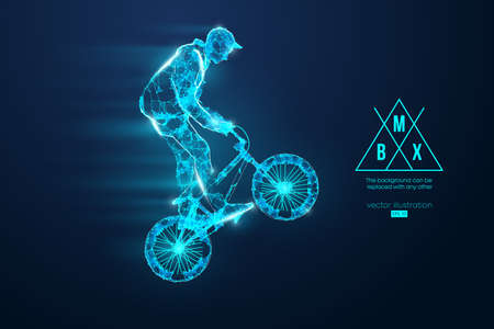 Silhouette of a BMX rider. Convenient organization of eps file. Background, text and basic elements on separate layers, color can be changed in one click. Vector illustration. Thanks for watching Banco de Imagens - 150743936