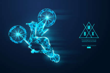 Silhouette of a BMX rider. Convenient organization  . Background, text and basic elements on separate layers, color can be changed in one click. Banco de Imagens - 150831352
