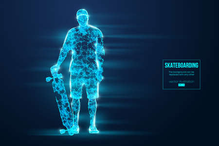 Skateboarding. Abstract silhouette of a wireframe skateboarder from particles on the blue background.