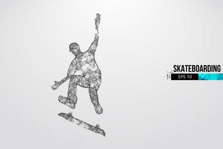 Skateboarding. Abstract silhouette of a wireframe skateboarder from particles on the white background. Convenient organization of eps file. Vector illustartion. Thanks for watching Ilustração