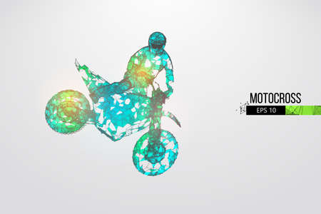 Abstract silhouette of a wireframe motocross rider from particles on the white background.