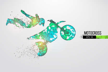 Abstract silhouette of a wireframe motocross rider from particles on the white background. Convenient organization of eps file. Vector illustartion. Thanks for watching Ilustração