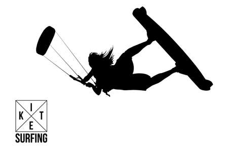 Kitesurfing and kiteboarding. Silhouette of a kitesurfer. Woman in a jump performs a trick. Big air competition. Vettoriali