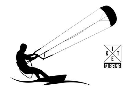 Kite surfing and kite-boarding. Silhouette of a kite surfer. Free ride competition. Vector illustration. Vector Illustration