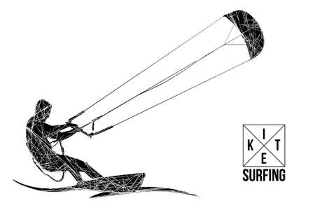 Kite surfing and kite boarding. Silhouette of a kite surfer. Free ride competition. Vector illustration.