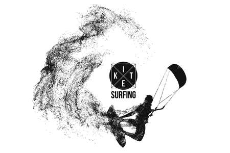Kite surfing and kite boarding. Silhouette of a kite surfer. Man in a jump performs a trick. Big air competition. Vektorové ilustrace