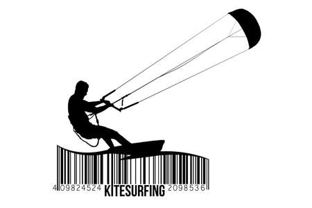 Kite surfing and kite boarding. Silhouette of a kite surfer. Free ride competition.