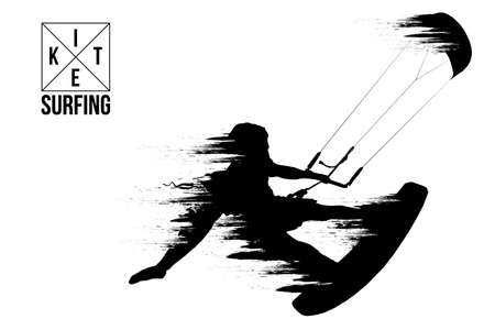 Kite surfing and kite boarding. Silhouette of a kite surfer. Man in a jump performs a trick. Big air competition.