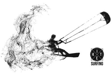 Kite surfing and kite boarding. Silhouette of a kite surfer. Free ride competition. Ilustración de vector