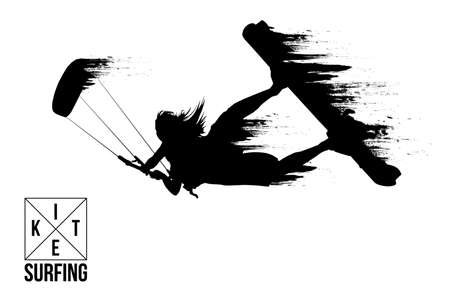Kite surfing and kite boarding. Silhouette of a kite surfer. Woman in a jump performs a trick. Big air competition. Vektorové ilustrace