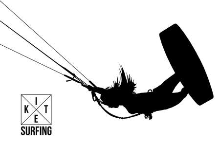 Kite surfing and kite boarding. Silhouette of a kite surfer. Woman in a jump performs a trick. Big air competition.