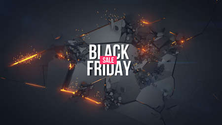 Black Friday sale, discount. 3d render illustration. In my portfolio you can find an excellent 3D animation of this banner resolution 1920x1080. If you have any questions do not hesitate to write me