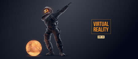 VR headset with neon light, future technology concept banner. Astronaut with virtual reality glasses on black background and Mars planet. VR games. Vector illustration. Thanks for watching