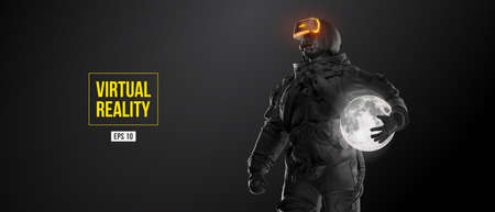 VR headset with neon light, future technology concept banner. Astronaut with virtual reality glasses on black background and Moon planet. VR games. Vector illustration. Thanks for watching Vettoriali