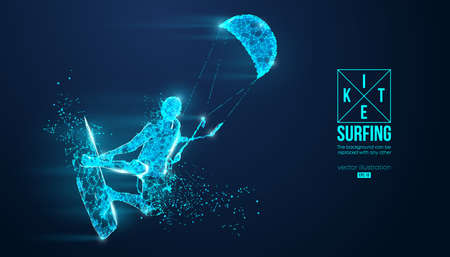 Kitesurfing and kiteboarding, hydrofoil. Silhouette of a kitesurfer. Freeride competition. Vector illustration. Thanks for watching