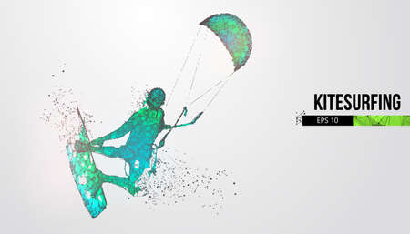 Kiteboarding, hydrofoil. Silhouette of a kitesurfer. Freeride competition. Vector illustration. Thanks for watching